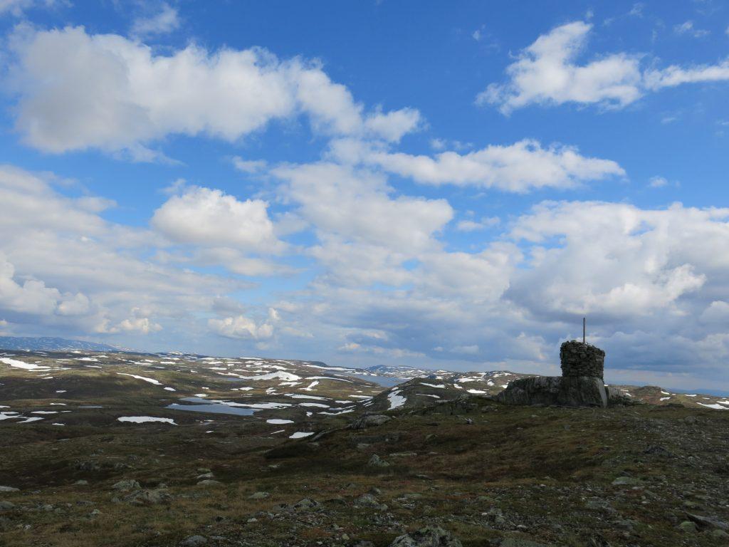 Hallingnatten, høyeste punktet i Nes kommune, med Reinsjøen i det fjerne. Foto: Olav W. Sveinsson, juni 2014.